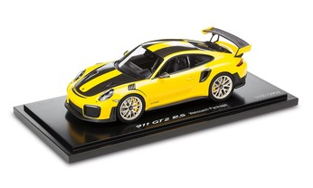 911 GT2 RS, Paquete Weissach, amarillo racing/negro, 1:18 - Limited Edition