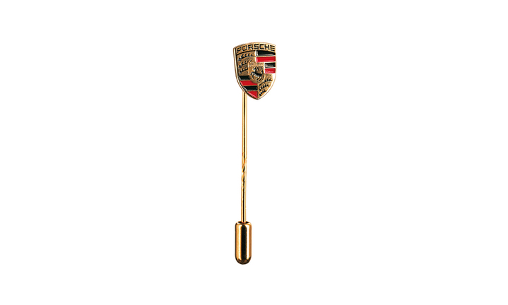 Crest Stick Pin, black/red/yellow