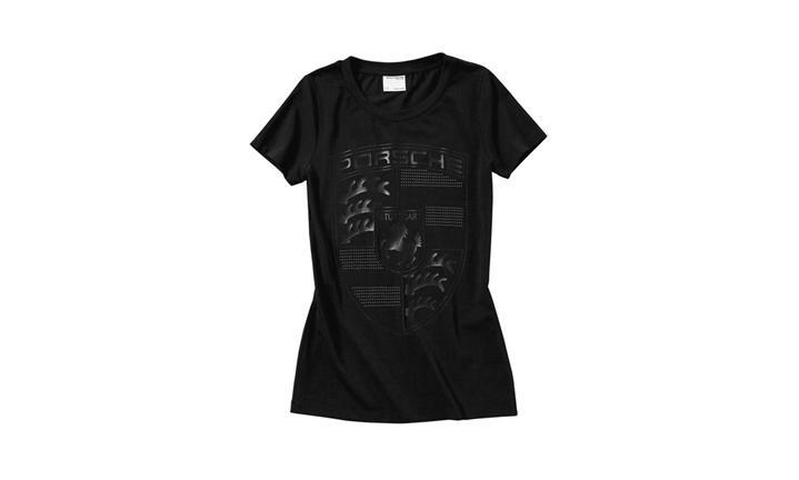 Porsche Ladies' Rhinestone Crest T Shirt in Black