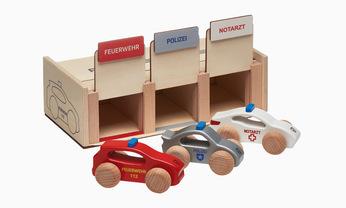 Wooden emergency vehicle set